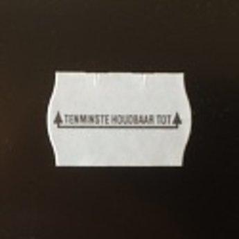 Etiket 2616 wit permanent 2-slit golfrand bedrukt >> Tenminste houdbaar tot: << 39.600 etiketten ( 36 rollen