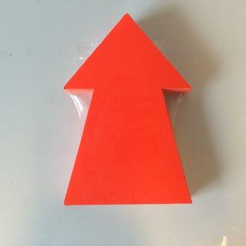 Fluor kartonnen pijl 22x15 cm, kleur fluor rood, pak