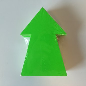 Fluor kartonnen pijl 15x10 cm, kleur fluor groen, pak
