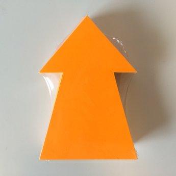 Fluor kartonnen pijl 15x10 cm, kleur fluor oranje, pak