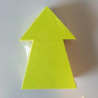 Fluor kartonnen pijl 15x10 cm, kleur fluor geel, pak
