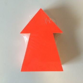 Fluor kartonnen pijl 15x10 cm, kleur fluor rood, pak