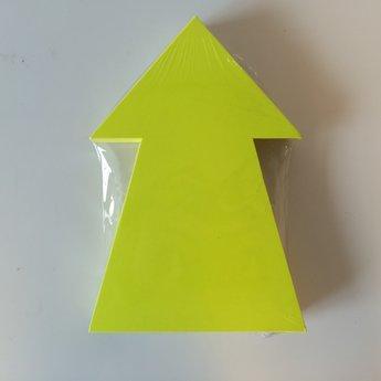 Fluor kartonnen pijl 22x15 cm, kleur fluor geel, pak