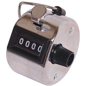 Klantenteller / bezoekersteller, simpele maar effectieve manier om te tellen, met een simpele druk op het knopje, telt tot 9999, simpel te resetten. Met ophanghaakje voor b.v.b. een koord, kleur: zilver- metallic zwart, diam:46mm, dikte:31mm.