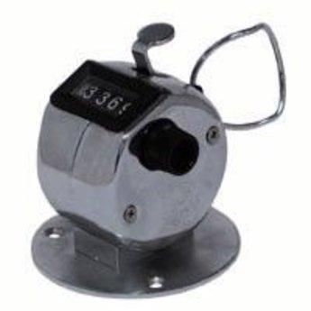 Klantenteller / bezoekersteller, simpele maar effectieve manier om te tellen, met een simpele druk op het knopje, telt tot 9999, simpel te resetten, kan met het voetstukje op b.v.b. een tafel worden geschroefd, maar ook gewoon in de hand (voetstukje is si