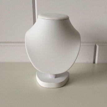 Collierhalsje wit kunstleer hoogte 17,5 cm