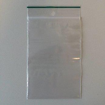 Gripzakjes  70x100 mm  dikte 50 micron per verpakking van 100 stuks. Voorzien van ophangoogje.