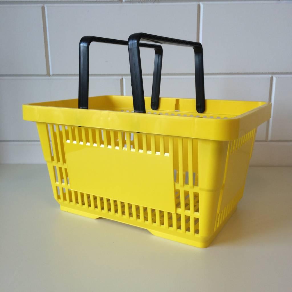 Winkelmandje geel  Ral 1018 met 2 handgrepen. Afmeting bxlxh 30x43x21 cm. Boodschappenmandje met een inhoud van  22 liter. Draagcapaciteit tot 10 kg.