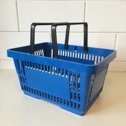Winkelmandje blauw 2 handgrepen 22 liter
