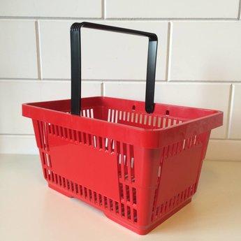 Winkelmandje rood  Ral 3000 met 1 handgreep. Afmeting bxlxh 30x43x21 cm. Boodschappenmandje met een inhoud van  22 liter. Draagcapaciteit tot 10 kg.