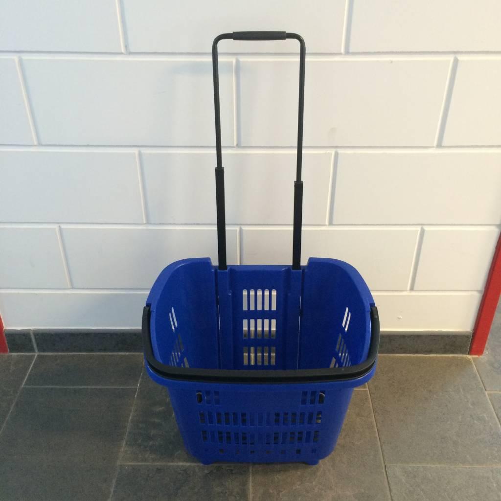 Winkelmand >Shop en Roll< op rubberen wielen blauw  Ral 5005 / pantone 287C, met uitschuifbaar handgreep van aluminium, hoogte 90cm. Afmeting bxlxh 353x465x404 mm. Inhoud 34 liter. Maximaal te beladen om te rollen 25 kg, om te dragen 15 kg.Prijs per stuk