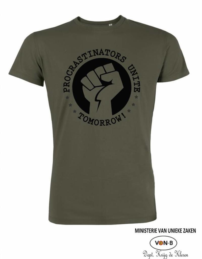 Departement Krijg de Kleren Procrastinators Unite Tomorrow (Man) - kaki