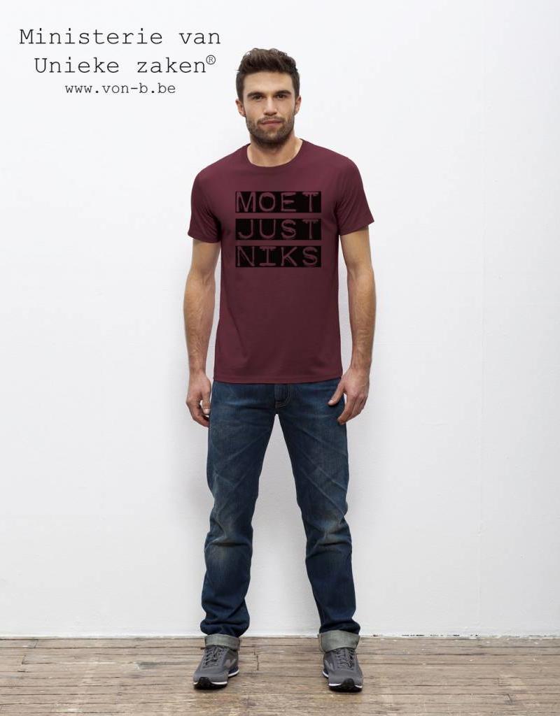"""Departement Krijg de Kleren Moet Just Niks """"Vet"""" T-shirt Man - Bordeau"""