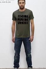 Departement Krijg de Kleren Moet Just Niks 'vet'- t-shirt khaki