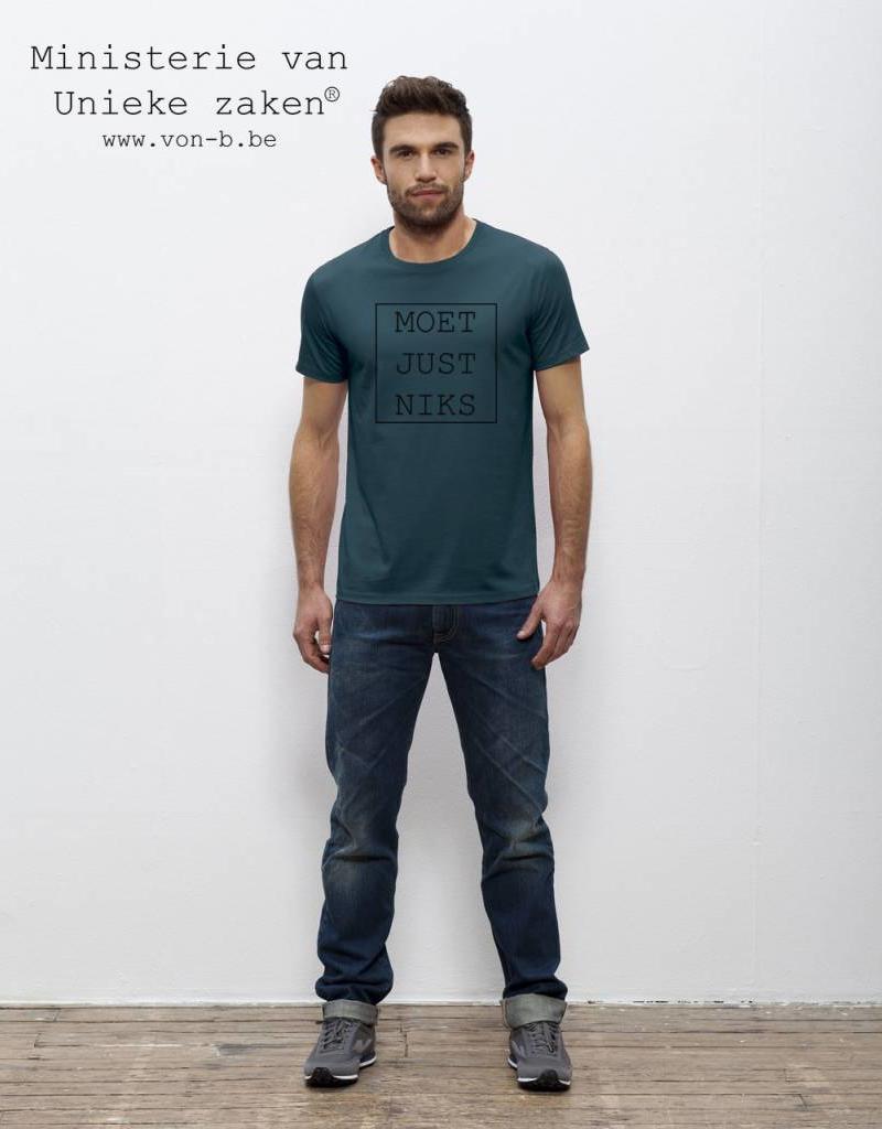 Departement Krijg de Kleren Moet Just Niks T-shirt Man - petrol