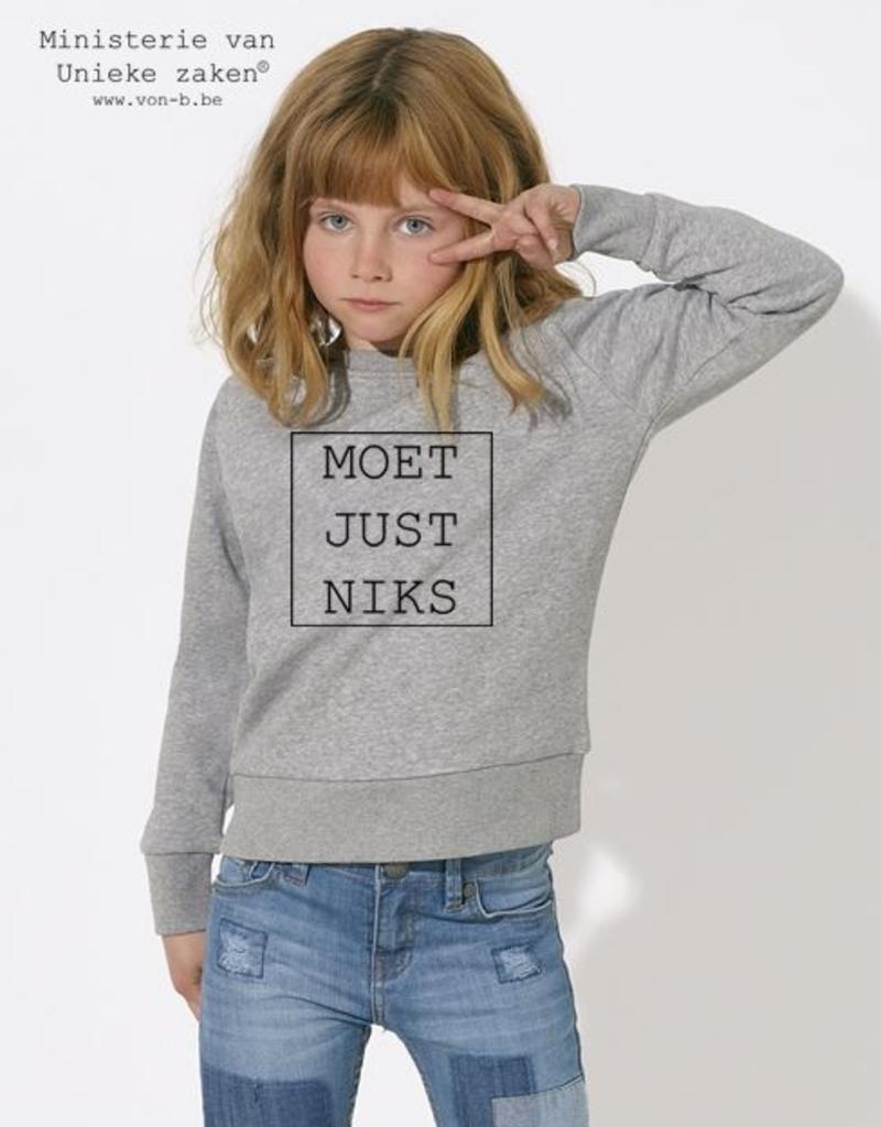 Departement Krijg de Kleren Moet Just Niks Sweater Kids Grijs