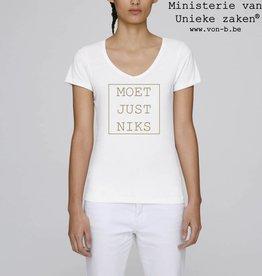 Departement Krijg de Kleren Moet Just Niks - t-shirt wit/goud V-hals