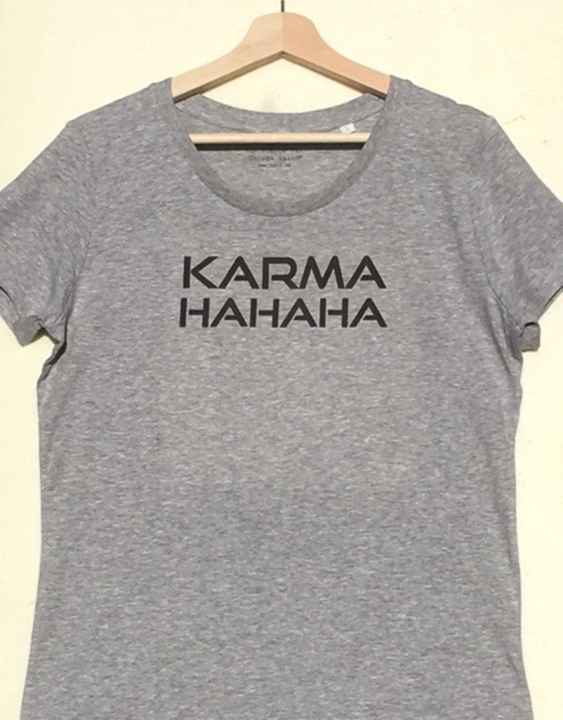 Departement Krijg de Kleren Karma HaHaHa - T-shirt vrouw Heather Grey