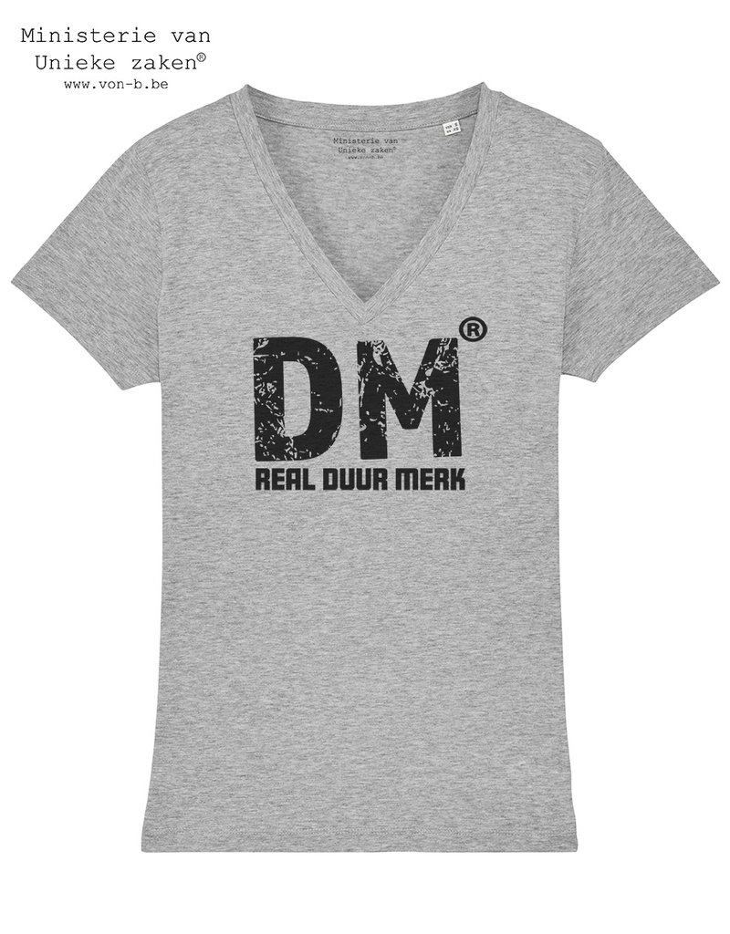 Duur Merk Duur Merk RDM - T-shirt vrouw V-hals Heather Grey