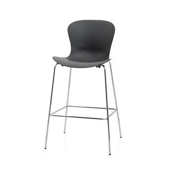 Fritz Hansen OUTLET | Fritz Hansen Nap KS58 Barstool | Pepper grey plastic | Chrome steel