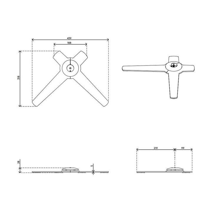 Dataflex Viewlite Fußplatte für Schreibtisch - Option 01