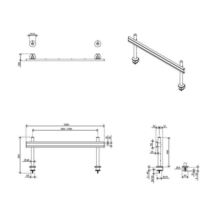 Dataflex Viewlite Schienensystem - Schreibtisch 70