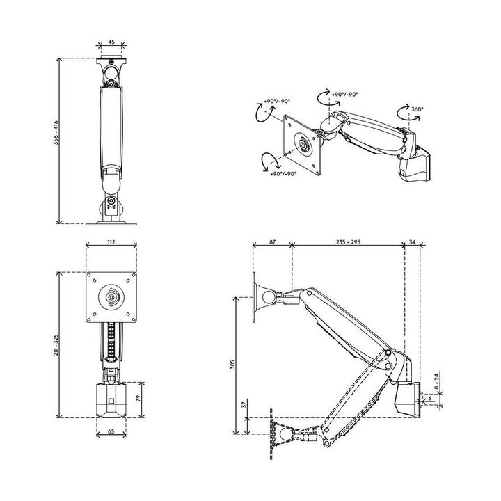 Dataflex Viewmaster monitorarm - Schiene 10