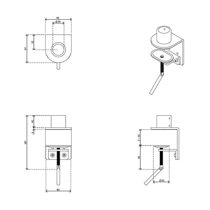 Dataflex Viewmaster bureauklem - bevestiging 86