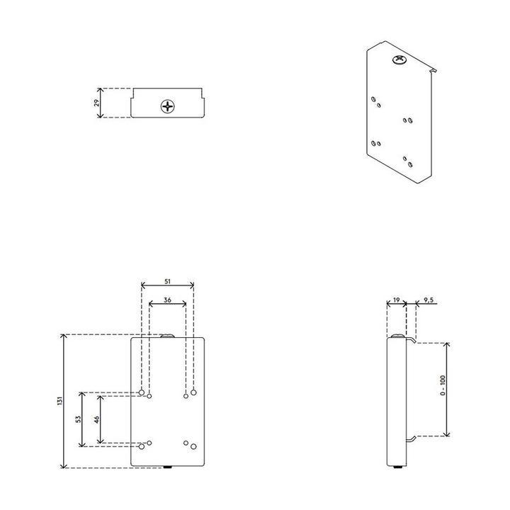 Dataflex Viewmaster railadapter voor wandmontage - optie 07