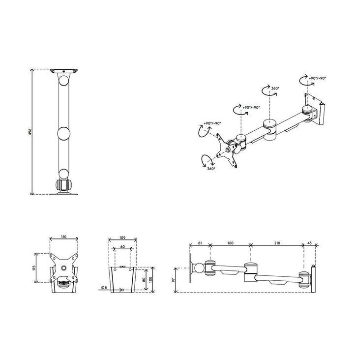 Dataflex Viewmate monitor arm - wall 04