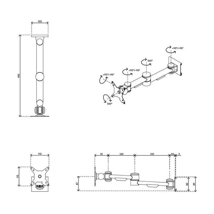 Dataflex Viewmate Monitorarm - Schiene 14