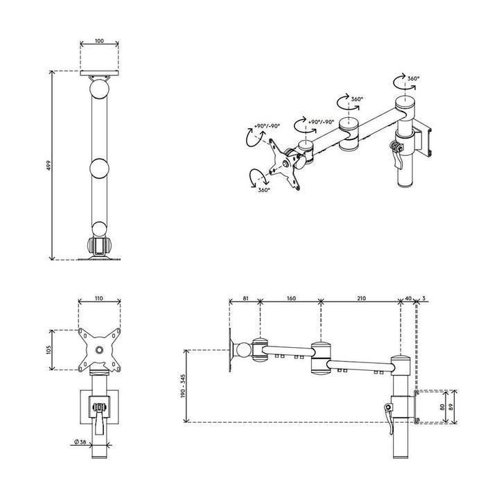 Dataflex Viewmate monitorarm - rail 15
