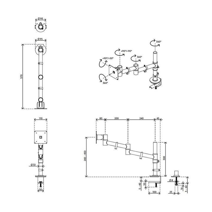 Dataflex Viewgo Monitorarm - Schreibtisch 12