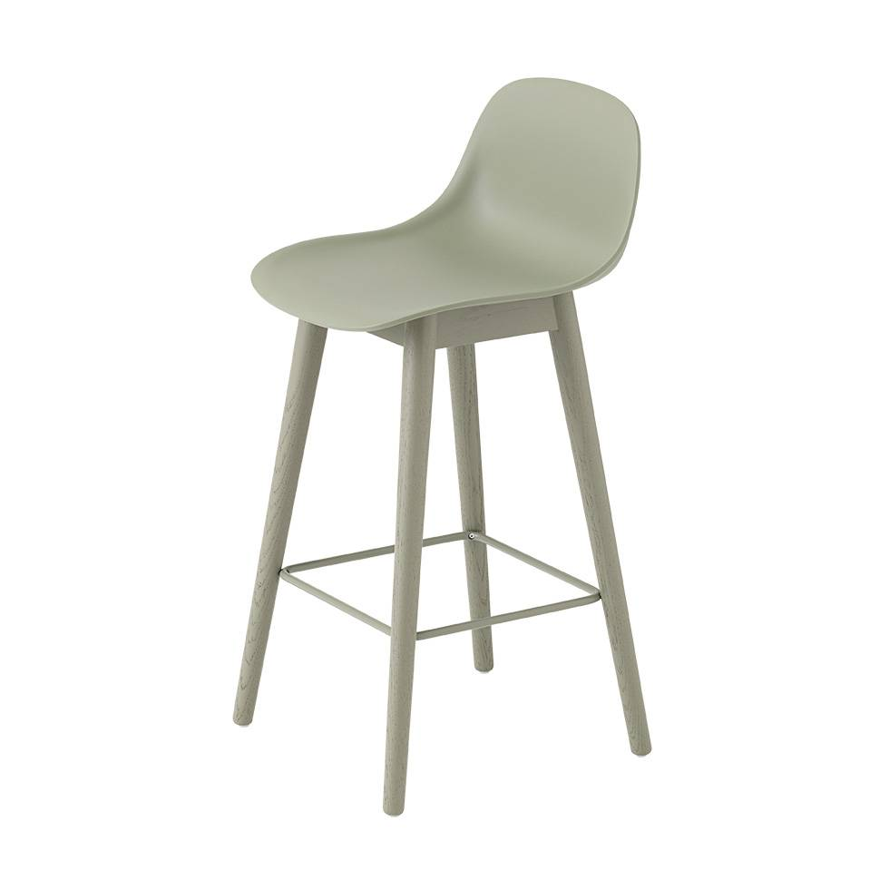Wondrous Muuto Muuto Fiber Bar Stool W Backrest Wood Base Beatyapartments Chair Design Images Beatyapartmentscom