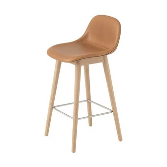 Muuto Muuto Fiber Bar Stool w. backrest | Wood base | Full upholstery