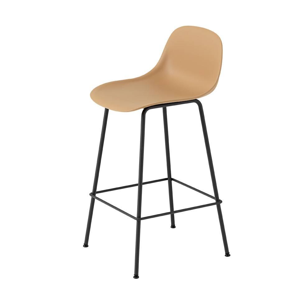 Marvelous Muuto Muuto Fiber Bar Stool W Backrest Tube Base Beatyapartments Chair Design Images Beatyapartmentscom