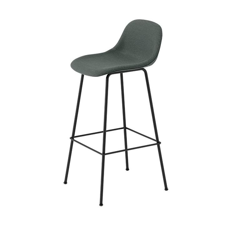 Muuto Fiber Bar Stool w. backrest | Tube base | Full upholstery