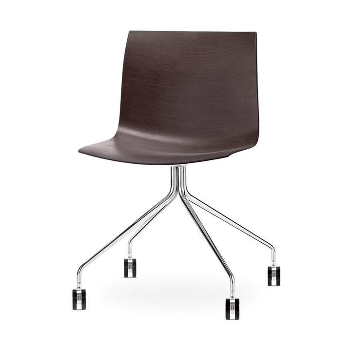 Arper Catifa 46 | Kreuzfuß mit Rollen | Chrom | Sitzschale aus Holz