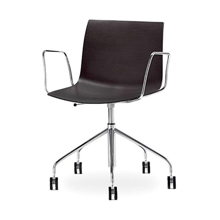 Arper Catifa 46   Desk chair   Chrome   Wooden seat shell