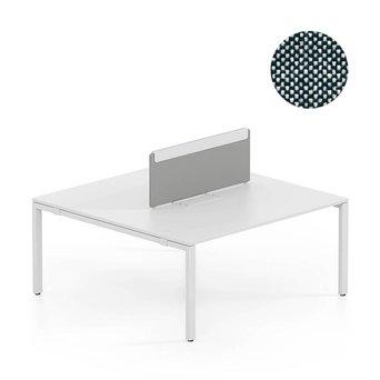 Vitra OUTLET | Vitra WorKit | Vast scherm voor dubbele werkplek | Zwart / crème wit plano 87 | 100 x 39 cm