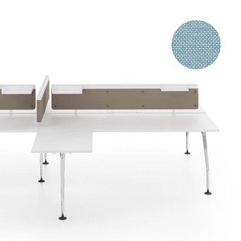 Vitra OUTLET | Vitra Ad Hoc scherm voor dubbele werkplek | B 140 x H 31,5 cm | Plano lichtgrijs / ijsblauw