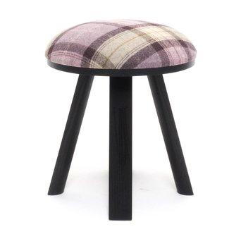 Buzzispace OUTLET | BuzziSpace BuzziMilk stool | Black ash | Pink tartan grape