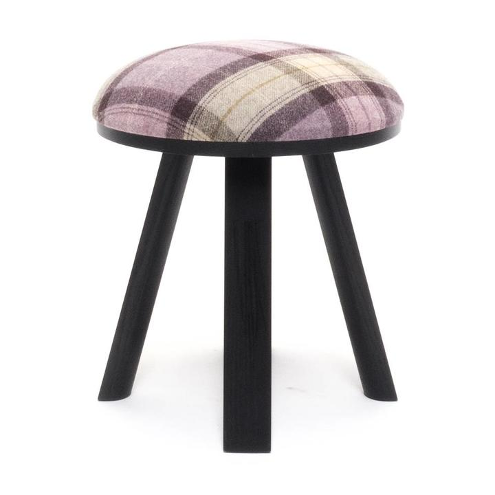 OUTLET | BuzziSpace BuzziMilk stool | Schwarz esche | Rosa tartan grape