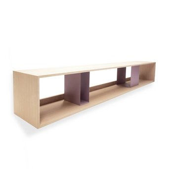 Arco OUTLET | Arco Scene Wandschrank | 252 x 44,6 x 40 cm | Bruin eiche naturel | Violett stahl