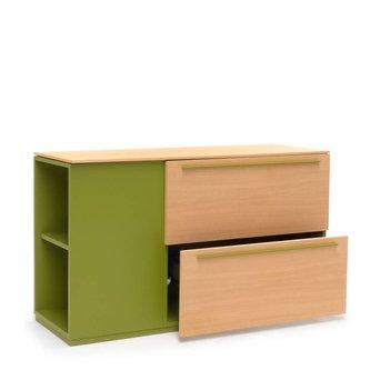 Arco OP=OP | Arco Side Store Modular | 126 x 42 x 70 cm | Olijfgroen MDF | Bruin eiken naturel
