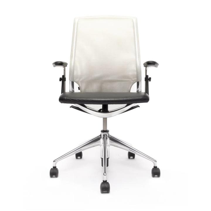 Refurbished Vitra Meda Chair   Weiß   Schwarz