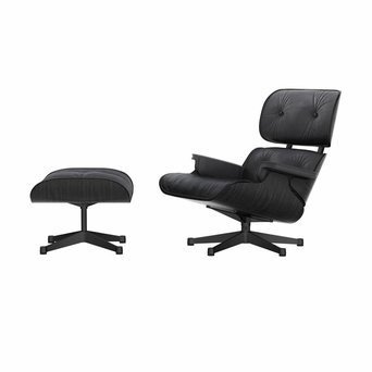 Vitra Vitra Lounge Chair & Ottoman | Zwart essenhout