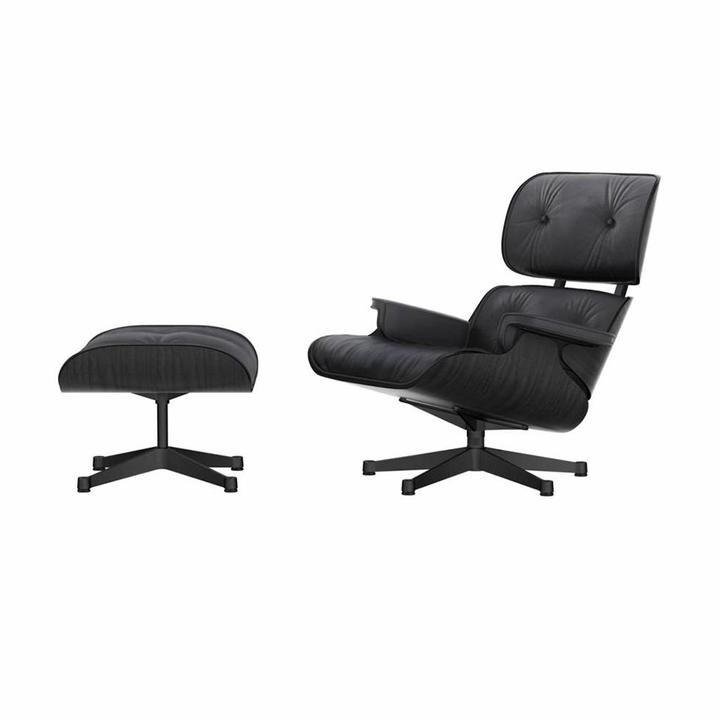 Vitra Lounge Chair & Ottoman | Zwart essenhout