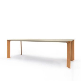 Arco OUTLET | Arco Steel Table | 200 x 90 x 75 cm | Yellow grey steel | Brown oak