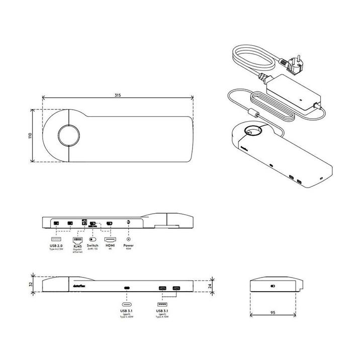 Dataflex Viewlite Link USB-C Dockingstation EUR - Schreibtisch 81